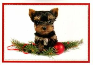Yorkie Yorkshire Terrier Puppy Merry Christmas Greeting Cards Set