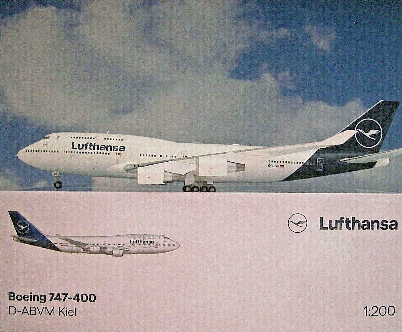 Herpa Wings 1 200 Boeing 747-400 Lufthansa Kiel D-abvm 559485 MODELLO in METALLO