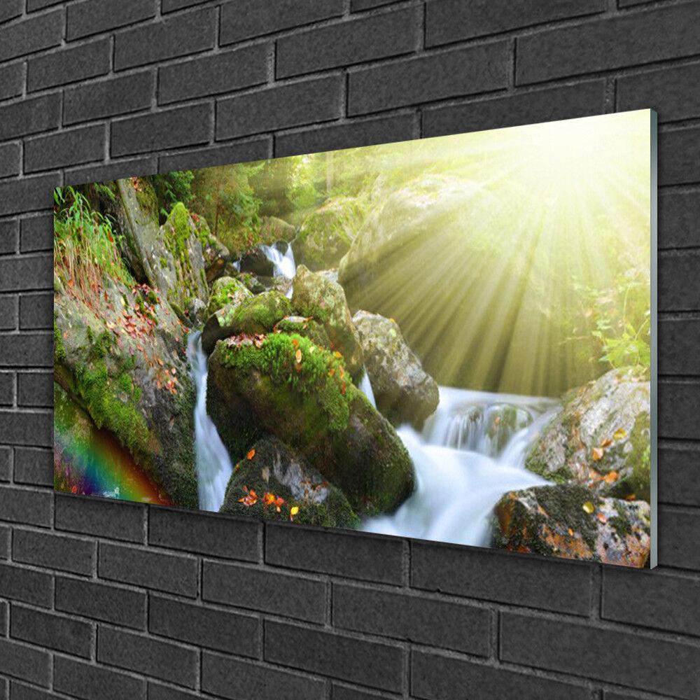 Tableau sur verre Image Impression 100x50 Nature Cascade Arc En Ciel