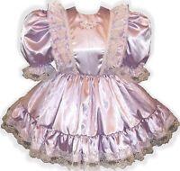 donna Custom Fit Lavender Satin Adult Lg Baby Sissy Dress Leanne