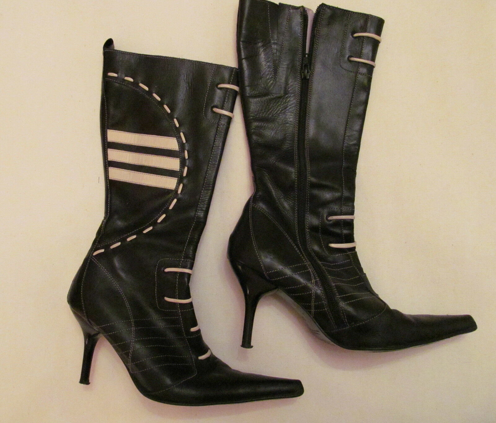 M C & POWER schwarz and WEISS racing stripes sporty sexy high heel tall boots 36 6