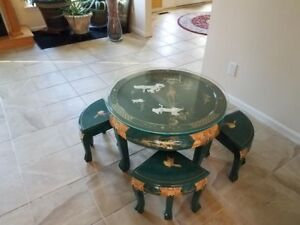 Image Is Loading Oriental Chinese Lacquer Coffee Table Mother Of Pearl