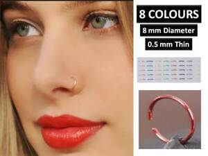 Extra Thin Small 0 5mm Nose Ring Small Nose Hoop 8 Mm Diameter 8