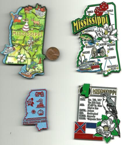 MISSISSIPPI and ALABAMA JUMBO  STATE  MAP  MAGNETS 7 COLOR  NEW USA  2 MAGNETS