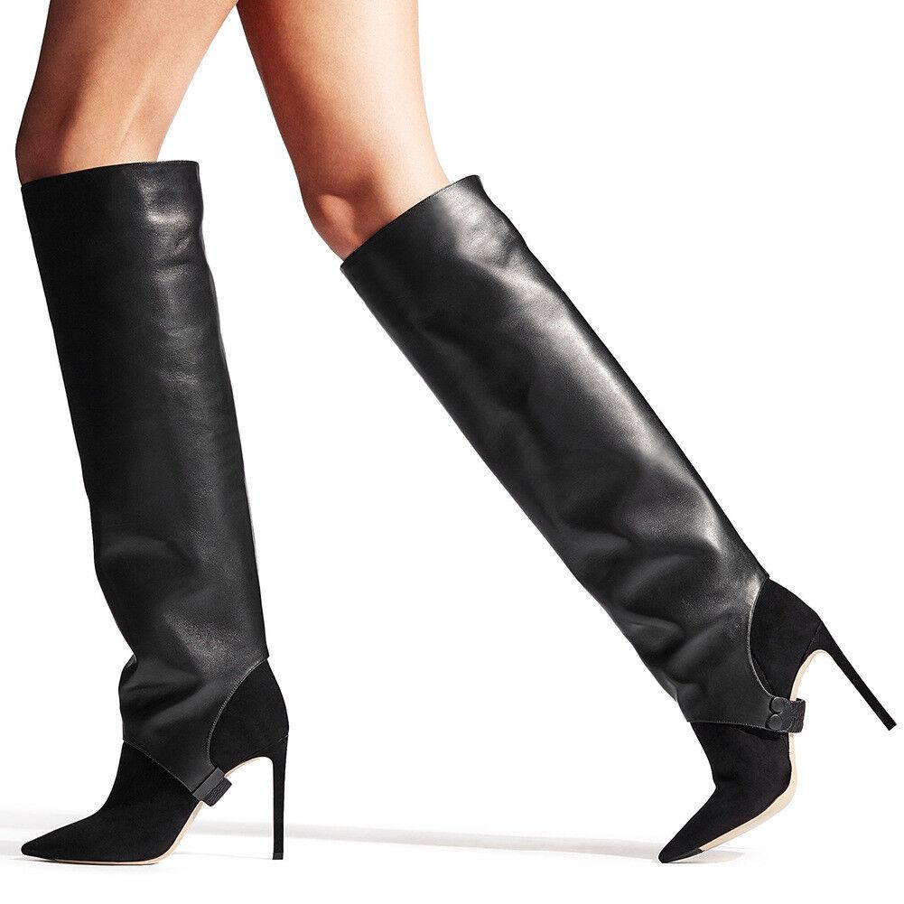 Femmes Talon Haut Bottes Hautes Club bout pointu et cuisse haute botte démonter Taille