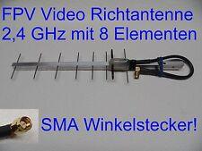 Super 8 Element Yagi Antennen SMA Winkelstecker FPV Video 2,4 GHz 25cm Kabel
