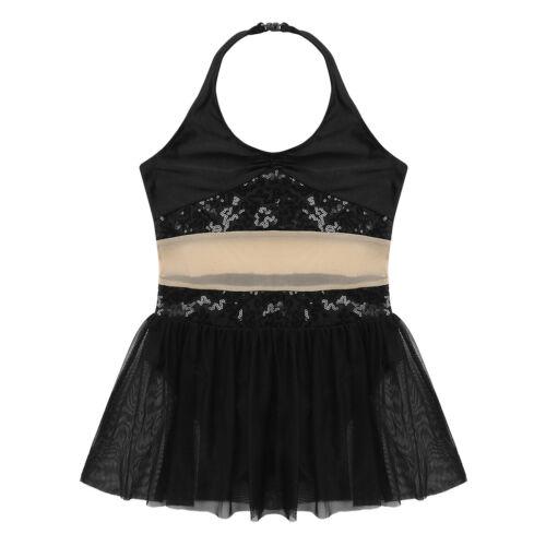 Kids Lyrical Dance Dress Girl Ballet Sequins Leotard Irregular Dancewear Costume