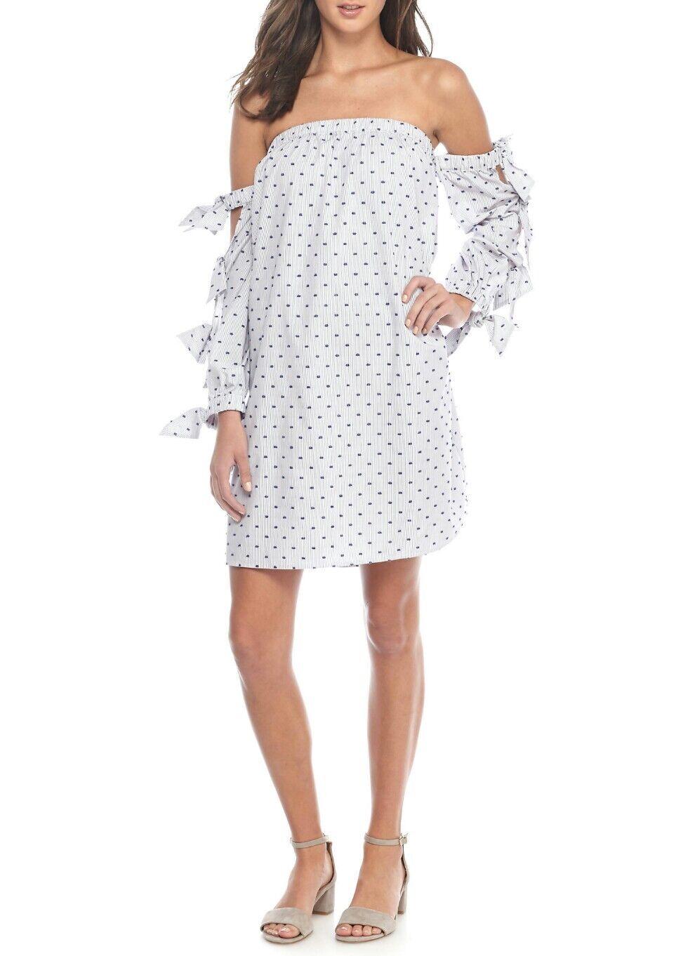 Cece damen Größe 8,10,12,14 Tie Sleeve Off Shoulder Striped Mini Dress Nordstrom