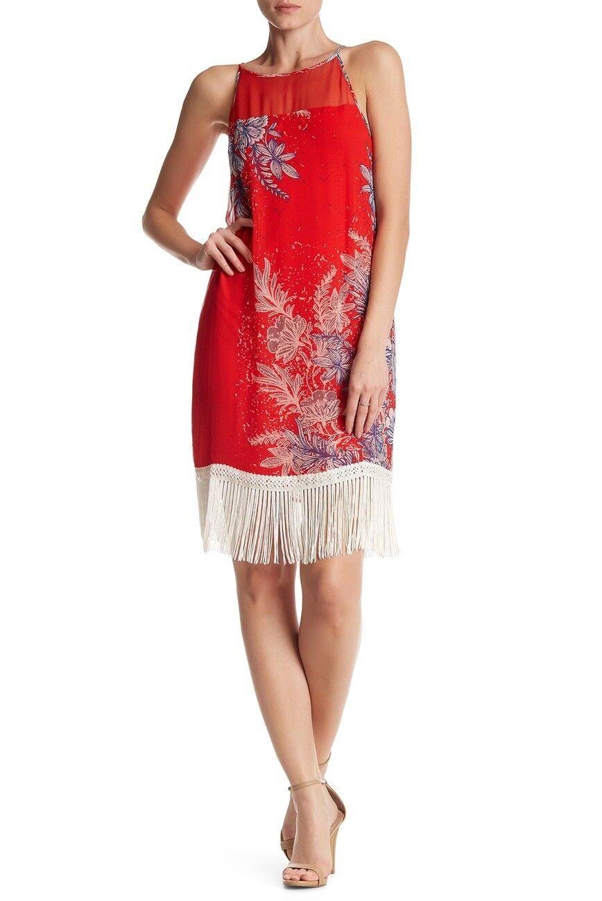 NEW Ella Moss Fringe Trim Floral Silk Dress in Red Multi - Size M