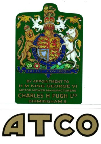 ATCO Vintage Mower GEORGE VI Coat of Arms Repro Decal