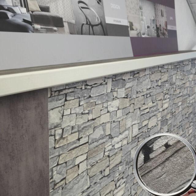 Papel Pintado Rasch 859102 Surface Piedra Gris de Pared Muro en 3d Aspecto