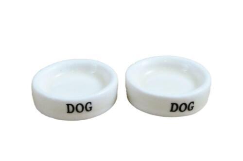Casa De Muñecas 2 blanco Plato de comida de perro tazón de agua Miniatura 1:12 Escala Accesorio De Mascotas