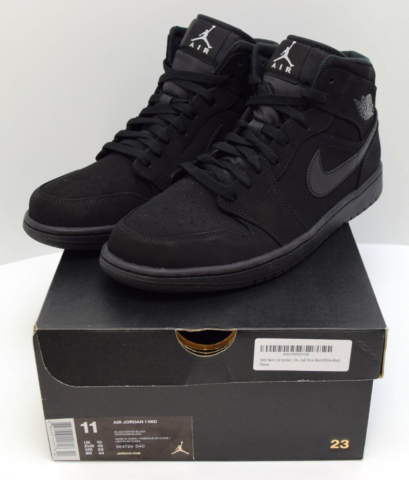 Nike Nike Nike Air Jordan I MID Men's Nubuck Black White Black Sz 11 554724-040 4-2 388d04