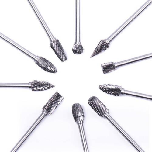 10x Tungsten Carbide Cutting Burr Kit Dremel Rotary Grinder Grinding Drill Bits