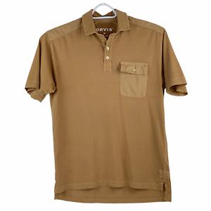Orvis Performance Golf Fishing Cotton Pocket Short Sleeve Polo Shirt Camel Tan M