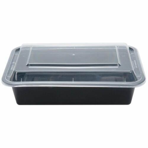 SafePro 38 oz CASE OF 100 Black Microwavable Container with Clear Lid