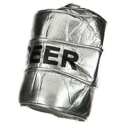 Beer Keg Hat Metallic Silver Crazy Fancy Dress Up Halloween Costume Accessory