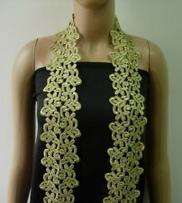 """TL167 3 2/8"""" Trendy Floral Gold Metallic Trims Lace Border Edging 1yd"""