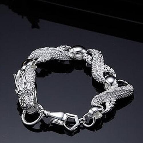 """ARGENT MASSIF CHINE DRAGON BLANC réellement Femmes chaîne Hommes Bracelet 8/"""" HY036"""