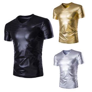 Mens-Silver-Metallic-Wet-Look-Shiny-T-Shirt-Tee-Top-V-Neck-Blouse-Pub-Club-Wear