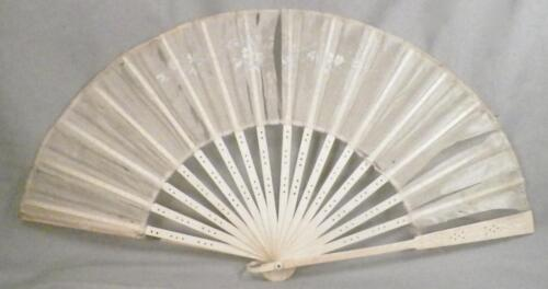 Vintage Hand Fan Lace Silk Hand Painted flowers Folding As Is #5 To Restore