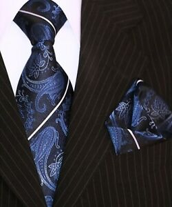 Binder-de-Luxe-Krawatte-Einstecktuch-Krawatten-Set-dunkel-blau-Paisley-135