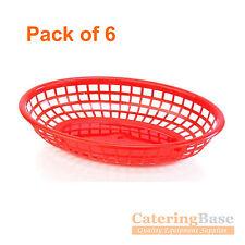 Confezione da 6 Rosso Classico Ovale Cibo al servizio di plastica cesto FAST FOOD lato ordine Chip