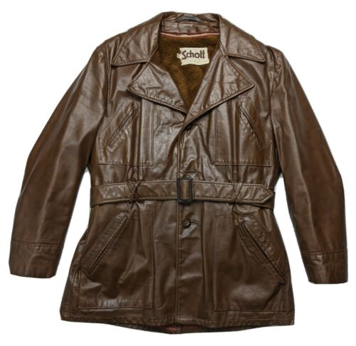 VINTAGE 70s SCHOTT NYC Disco Leather Jacket Brown