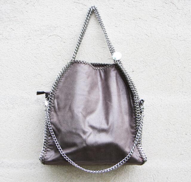 shoulder Bag three chains like falabella Stella Mccartney gray silver laminated
