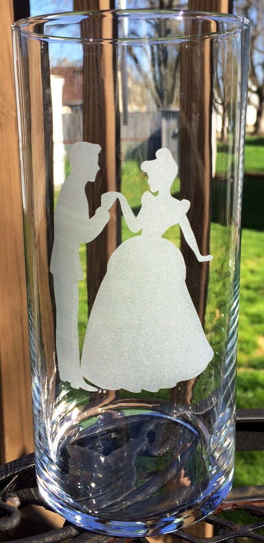 6 Gravure Mariage Centerpiece Cendrillon et le prince charmant Verre Gravé vase