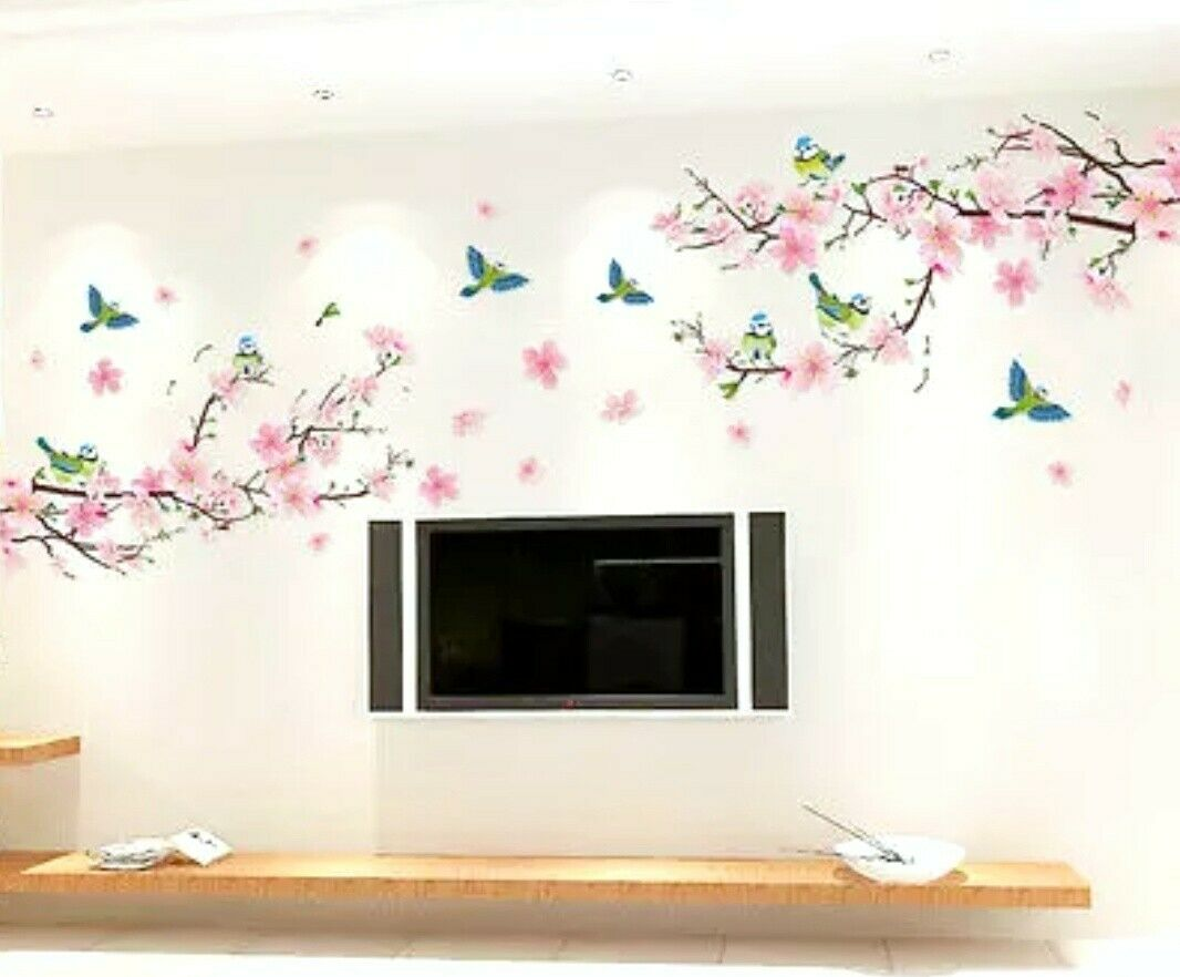 Cherry Blossom Branch Wall Decal Birds 3D Stickers Removable Mural Peel & Stick