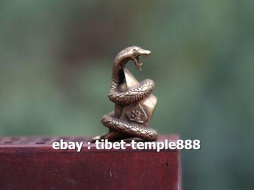 3 CM Chinese 100/% Pure Bronze Wealth Zodiac Animal Amulet Beast Snake Sculpture