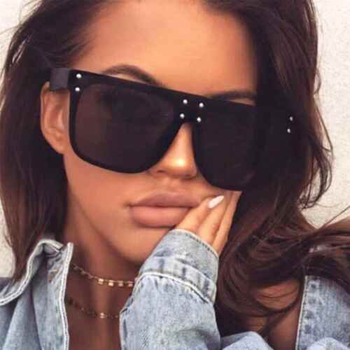 Square Flat Top Oversized Sunglasses Designer Frames Metal Dots Women Fashion