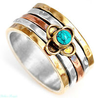 Spinner Sterling Silver Ring 925 Turquoise Gemstone Genuine Flower Wide Band Sz