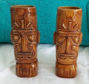 Lot of 2 Kon Tiki Tall Dark Brown Tiki Mugs OMC Otagiri Mercantile Company