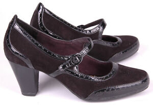 Clarks-Artisan-Women-Sz-6-M-Mary-Jane-Pump-Heels-Active-Air-Black-Leather-Uppers