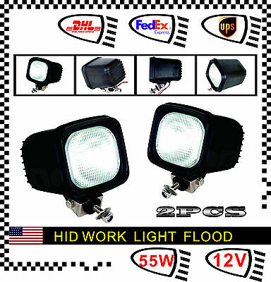 2 x 55W 12V HID Xenon Work Light Lamp For SUV ATV Offroad Fog Driving Flood 4WD