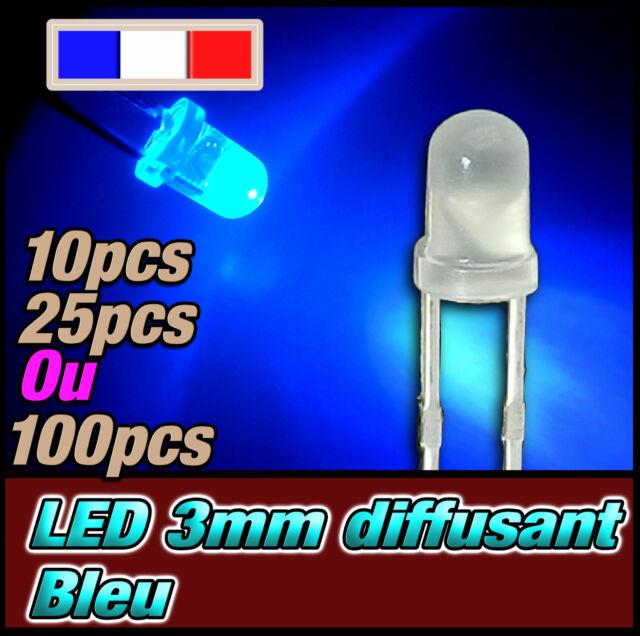 223D# LED 3mm bleu diffusant ronde - dispo 10, 25 ou 100pcs - blue LED