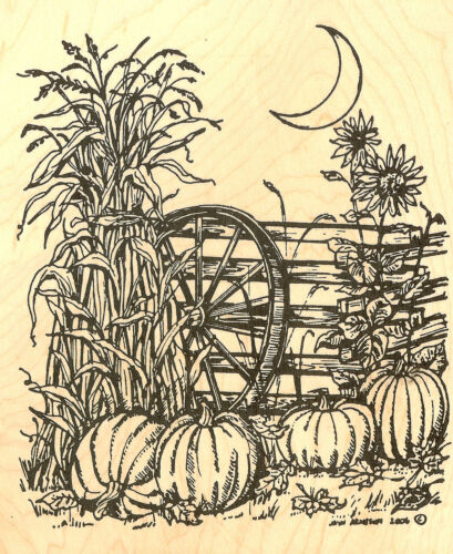 Fall Thanksgiving Harvest Moon Wood Mounted Rubber Stamp Northwoods P4768 New