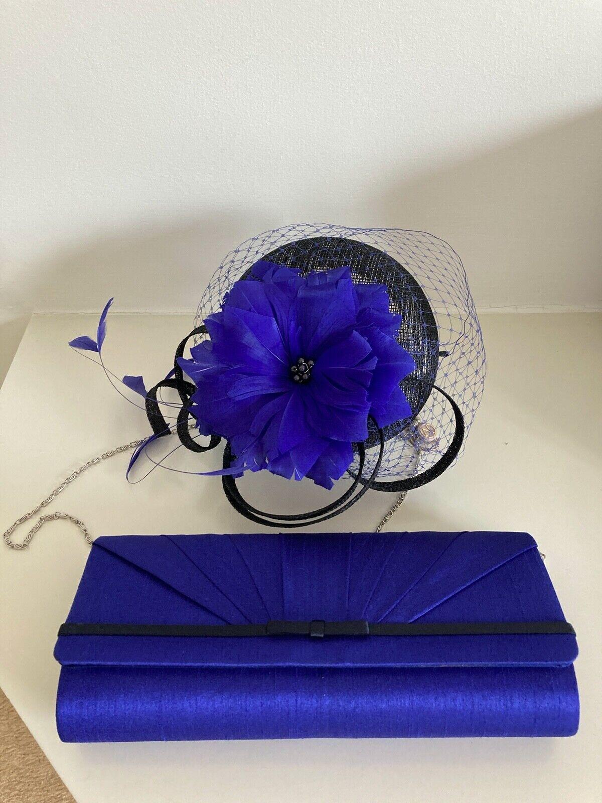 Jacques Vert Azul y Negro Fascinator de la y clutch bag nuevo con etiquetas