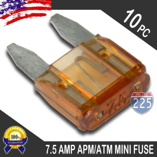 10 Pack 7.5A Mini Blade Style Fuses APM//ATM 32V Short Circuit Protection Fuse US
