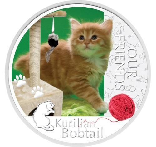 Kurilian Bobtail Cat 1 Oz Silver Proof Coin Niue 2012 $2 Our Friends Kittens