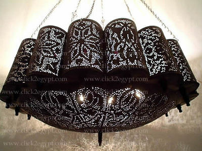 BR46 Antique Style Moroccan Pierced Hand-Etched Large Brass Chandelier