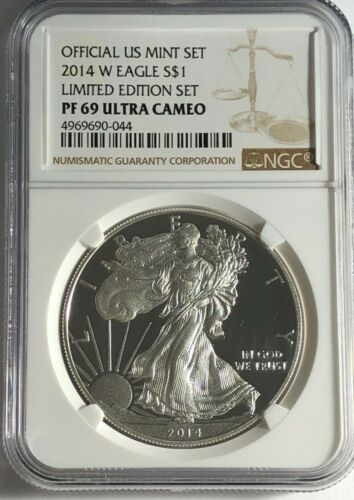 2014 W NGC PF69 ULTRA CAMEO PROOF SILVER AMERICAN EAGLE LIMITED EDITION SET
