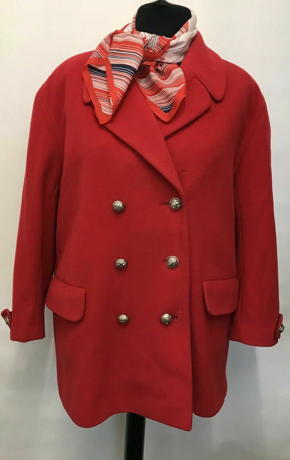 JT335 WOMEN'S VINTAGE FIRST AVENUE CASHMERE & WOOL RED COATS JACKETS SIZE 18