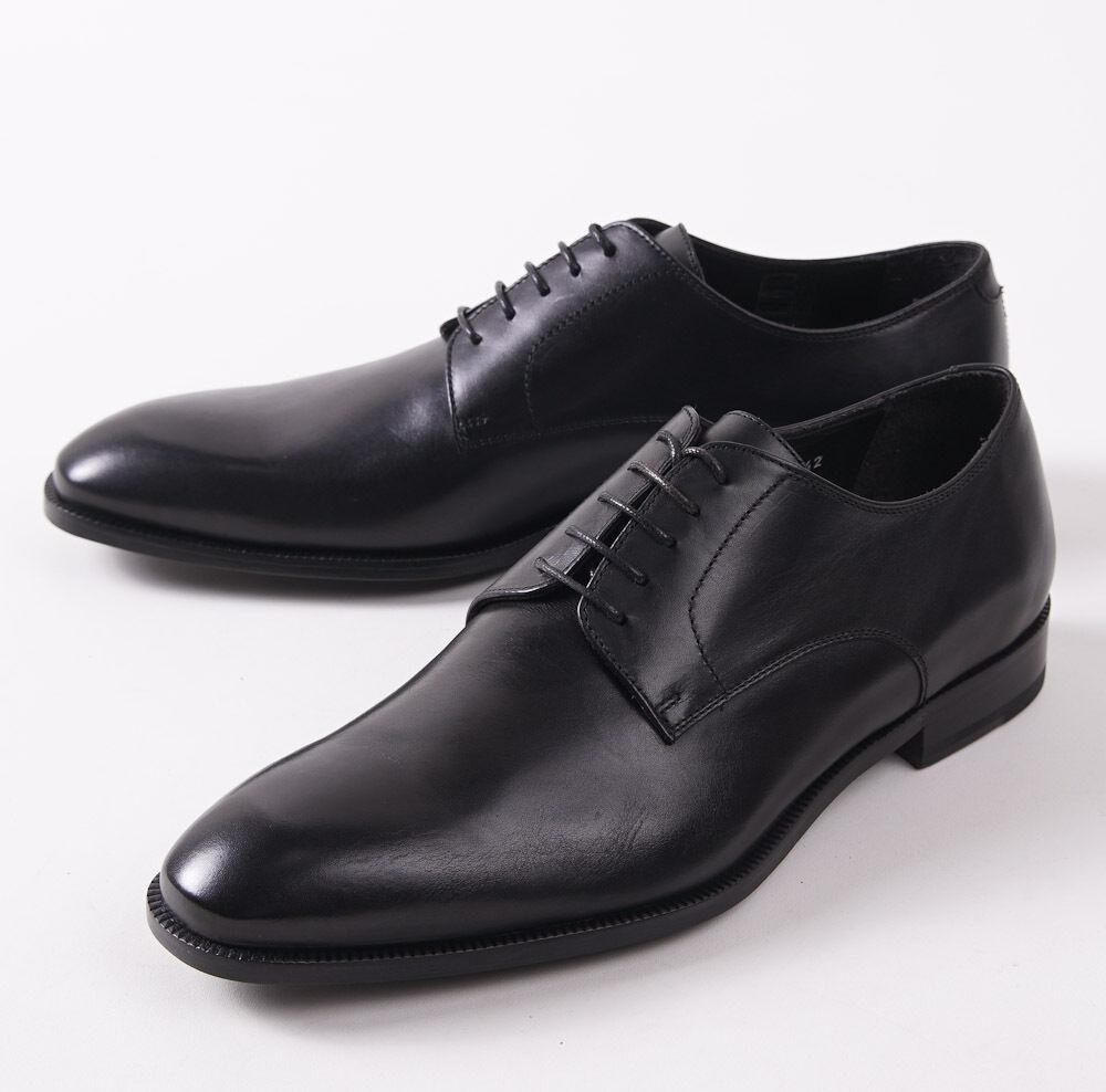 NIB  695 CANALI 1934 Black Calf Leather Plain Toe Derby US 7 D shoes