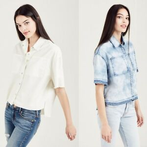 True-Religion-Women-039-s-Boxy-Step-Hem-Chambray-Button-Front-Cropped-Shirt