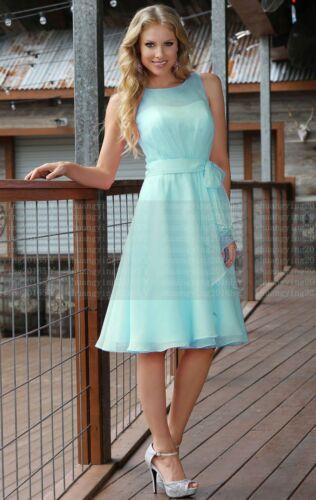 Formal Knee Length Chiffon Wedding Prom Ball Evening Bridesmaid Dress Size 6--18