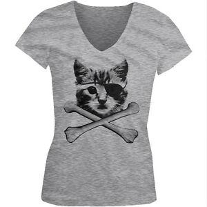 541ca1c68313 Kitten Pirate Cat With Eye Patch Crossbones Kitty Furball Juniors V ...