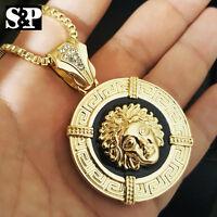 Luxury Gold Pt Medusa Face Head Pendant W/ 3mm 30 Box Chain Hip Hop Necklace
